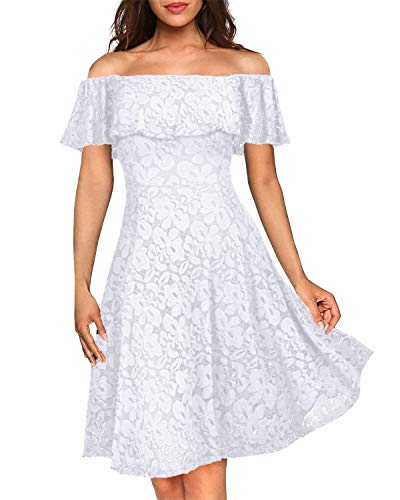 Kidsform Women's Off Shoulder Lace Dress Vintage Floral Cocktail Party Wedding Dresses White L