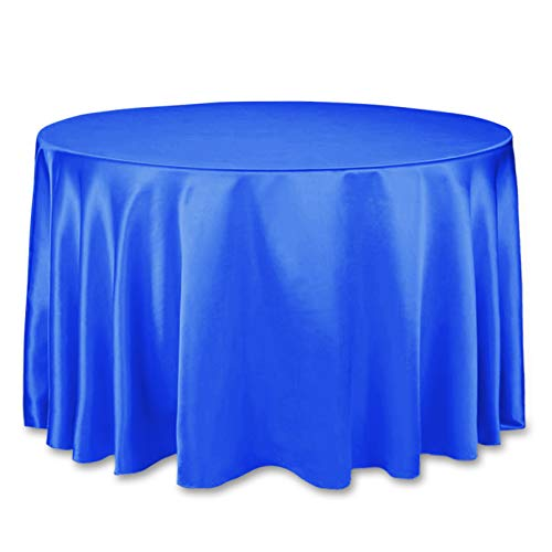 LinenTablecloth 108-Inch Round Satin Tablecloth Royal ()