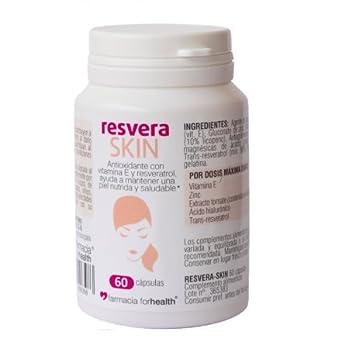 60 Cápsulas Resveraskin antioxidantes con resveratrol, Vitamina E, Zinc y ácido hialurónico que contribuyen a la protección de las células: Amazon.es: ...