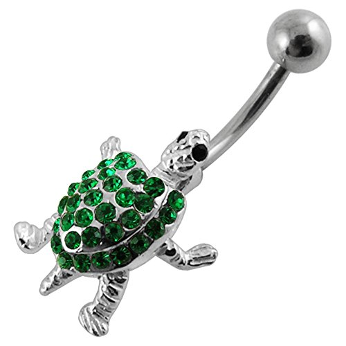 Dark Green CZ Gemstone Fancy Movable Turtle 925 Sterling Silver with Grade 23 Solid Titanium Belly Button Ring