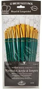 Royal & Langnickel RSET-9309 - Juego de pinceles de fibra de taklon (12 unidades, punta plana, pelo medio)