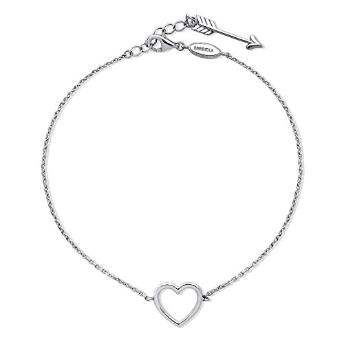 BERRICLE Rhodium Plated Sterling Silver Open Heart Arrow Fashion Charm Anklet