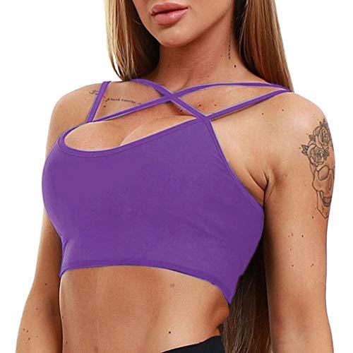 Women's Spaghetti Strap Crop Top Criss Cross Camisole Tank Tops Solid Camis Crop Top Vest Purple ()