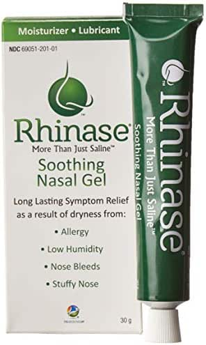 Rhinase Allergy Relief Lubricating Nasal Gel – Steroid Free, Dual Wetting Agent & Salt Formulation (1 oz.) for Nasal Dryness Nosebleeds Saline Gel for Nose