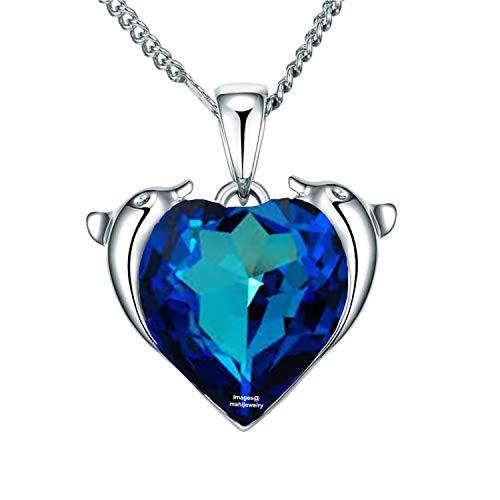 Solitaire Swarovski Heart Crystal - Mahi Rhodium Plated Valentine Heart Dolphino Pendant with Solitaire Swarovski Crystal for Girls and Women PS1104369RBlu