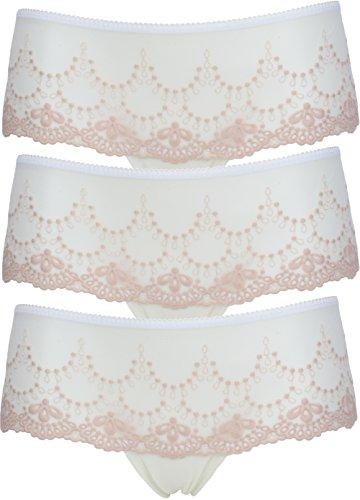 Ex Store de bajo Rise bordado corto de calzoncillos 3 Pack Cream