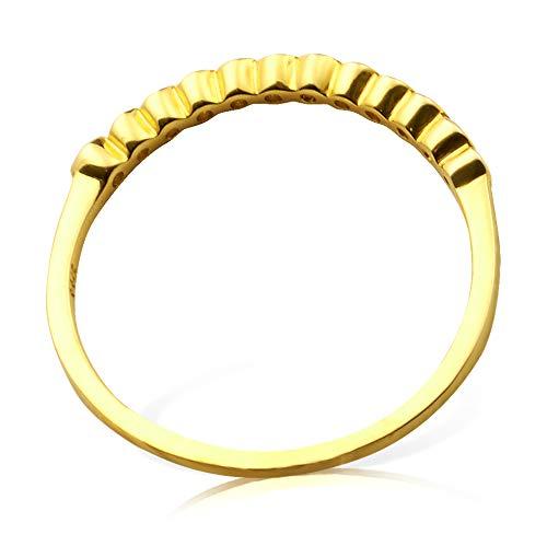 LoveBling 0.15 Carat K Yellow Gold Ring ctw size 6.5 Designer Diamond Stackable Band in 14 Karat