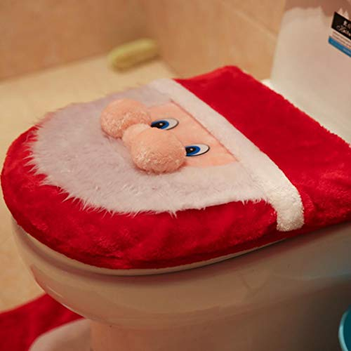 Vovomay 3PCS Fancy Santa Toilet Seat Cover and Rug Bathroom Set Christmas Decor by Vovomay
