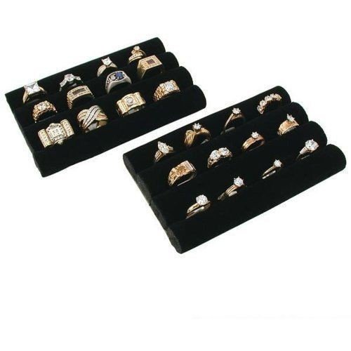 Velvet 2 Showcase Ring Displays (Stkertools(TM) 2 Black Velvet Ring Trays Jewelry Pad Showcase Displays 5.5