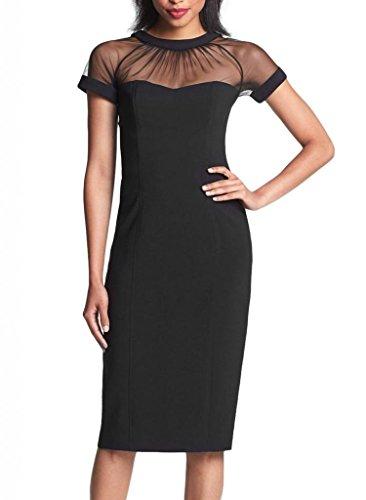 Minetom Sexy Kontrast Kurzarm Pencil Pin up Bodycon Party Elegantes Kleid Dresses