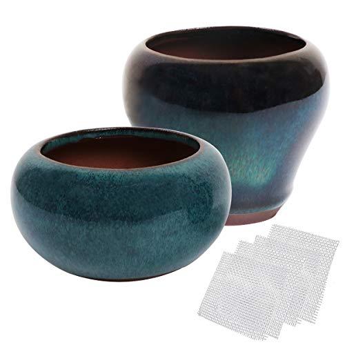 (kilofly Happy Bonsai 2 pc Mini Glazed Pots Value Set + 4 Soft Mesh Drainage Screens)