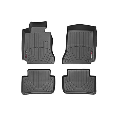 2012-2013 Mercedes-Benz C-Class-Weathertech Floor Liners-Full Set (Includes 1st and 2nd Row)-Fits Models with Two Retention Devices on the Driver's and Passenger's Side-Black for cheap