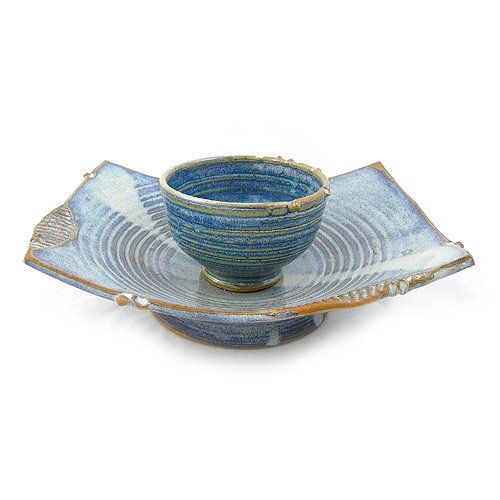 Asian-Inspired Pedestal Serving Dish and Bowl, Stoneware Pottery, French Blue Color