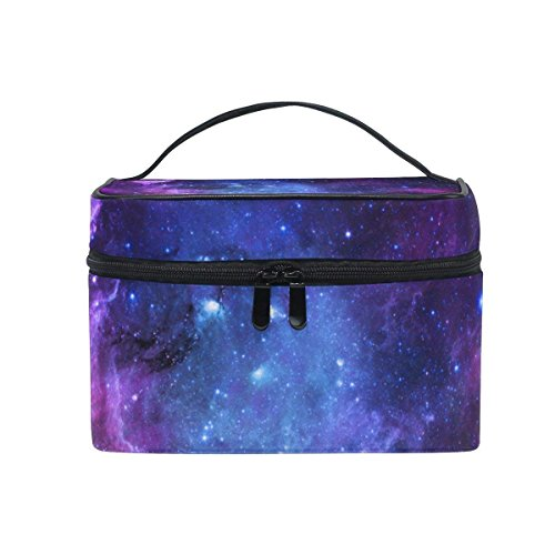 Toiletry Bag Nebula Purple Galaxy Cosmetic Bags Travel Makeup Train Cases Storage Organizer]()