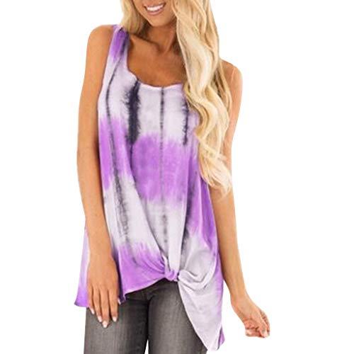 HYIRI Women's Striped Knotted Print Vestt Tank Knot Hem Loose Blouse Purple