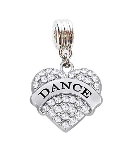 Love to Dance Heart Charm Slide Pendant for Your Necklace European Charm Bracelet (Fits Most Name Brands) DIY Projects ETC
