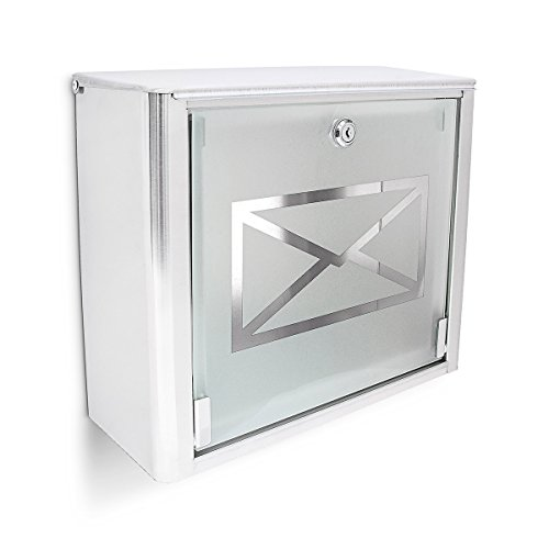 Relaxdays Mailbox with Frosted Glass Door, Stainless Steel Letterbox, Locking, HxWxD: 30.5 x 35.5 x 14 cm, Silver/Gray