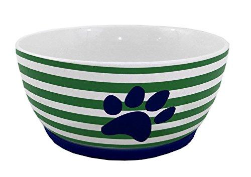 Stoneware Ceramic Stripes & Paw Dog Bowl Dish with Silicone Base (Small 6.25