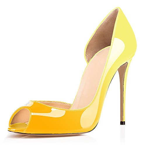 uBeauty Women's High Heel D'Orsay Court Shoes Peep Toe Shoes Slip On Sandals Stiletto Heel Shoes for Wedding Yellow Colorful phEFsp5A
