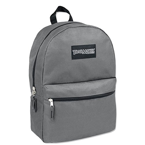 New Trailmaker Classic 17 Inch Backpack With Reinforced Padded Straps (Grey)