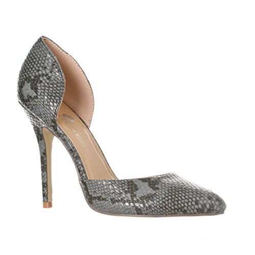 Riverberry Women's Nora Pointed Toe, Slip On D'Orsay Pump Heels, Black Python, - Pumps Toe Pointed Print