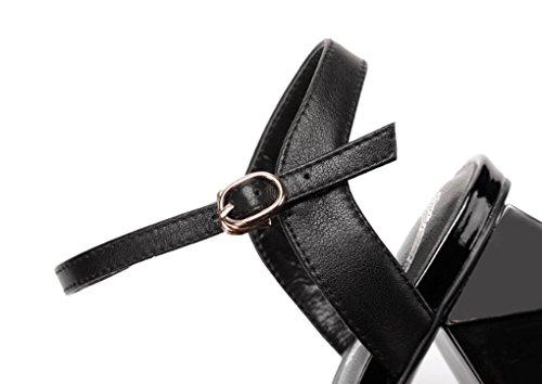 Tacco da in Donna Spesso Tacchi America Sandali Pelle Giallo a Punta e Estivi Aperta Scarpe Europa qAwTYf