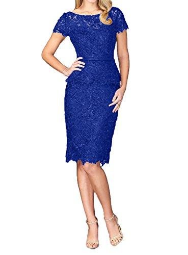 Navy Blau Blau Abendkleider Kurzarm Etuikleider Spitze Knielang Royal Charmant Promkleider Brautmutterkleider Damen Fesltichkleider UHxqR5f