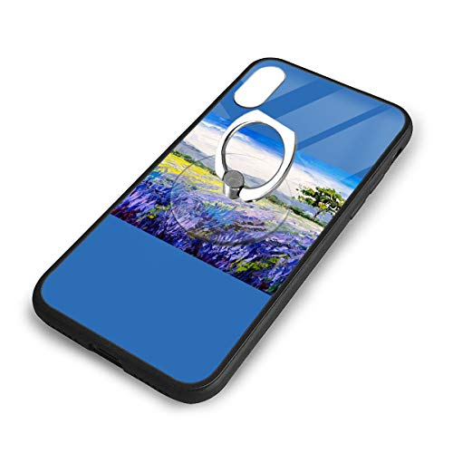 iPhone X Plus Cover Oil Painting Farm Case with Finger Ring Stand XS Phone Kickstand Holder Shock Protective Basic -