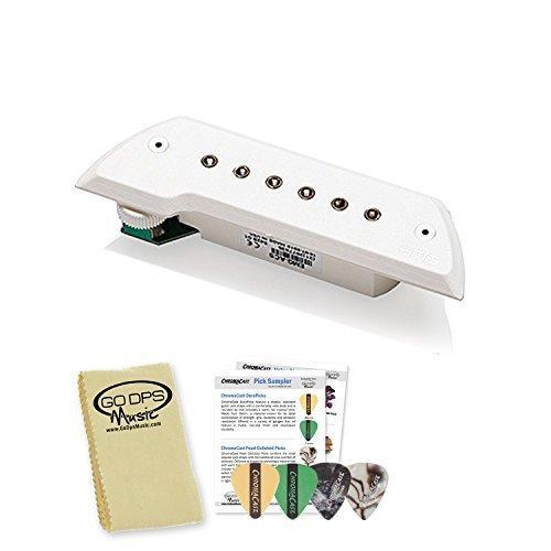 EMG ACS White Active Magnetic Acoustic Soundhole Pickup Kit - Includes: Polish Cloth & Pick Sampler
