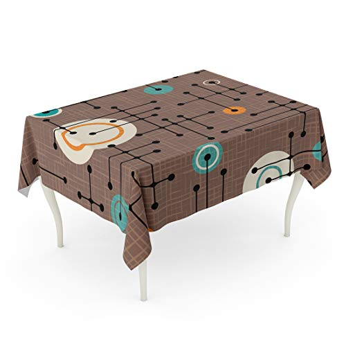 Semtomn 52 x 70 Inch Decorative Rectangle Tablecloth Brown 1950S Retro Pattern of Lines and Circles Overlay Waterproof Oil-Proof Printed Table Cloth