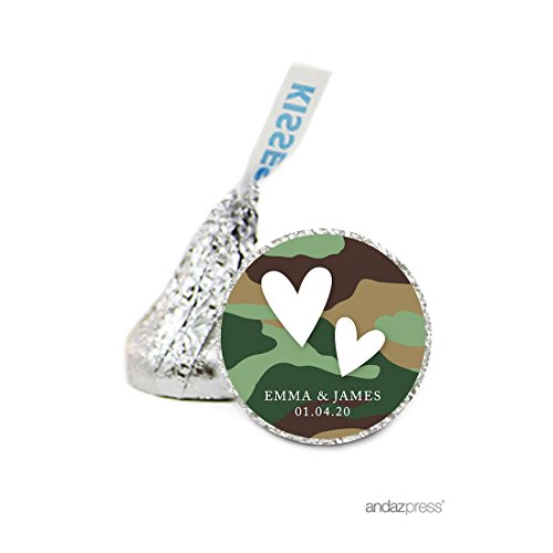 Andaz Press Personalized Chocolate Drop Labels Stickers Single, Wedding, Double Hearts Camouflage 216-Pack, Custom Name, For Hershey's Kisses Party Favors, Gifts, Decorations