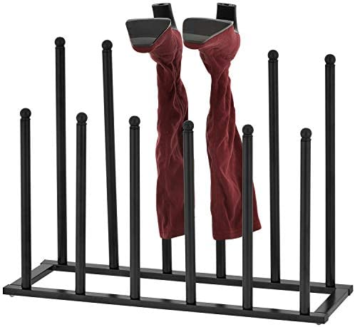 MyGift 6-Pair Modern Sleek Black Metal Boot Storage Rack