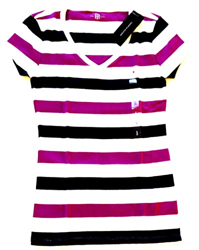Tommy Hilfiger Women's V-neck Short Sleeve Striped Logo T-shirt (Purple/white/blue) (Large, Purple/White/Blue)