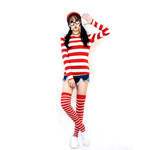 JALYCOS Where's Waldo Costume,Halloween Cosplay Costume,Red and White Striped Cosplay T-Shirt,Outfit Glasses Hat Shirt Suits ()