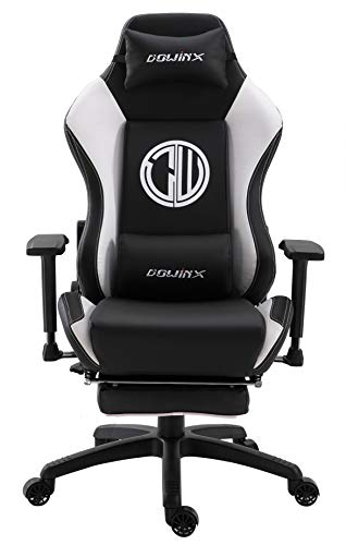 Dowinx Gaming Chair Ergonomic Racing Style Recliner with Massage Lumbar Support, Office Armchair for Computer PU Leather E-Sports Gamer Chairs with Retractable Footrest (Black&White) Review
