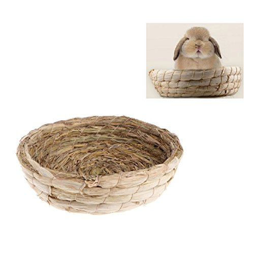 Stock Show Small Animals Handmade Woven Straw Grass Nest Bedding Mat Hut Hammock House Pet Bedding Chew Toy for Rabbits Guinea Pigs Chinchilla Rat Hedgehogs Ferrets and Small ()