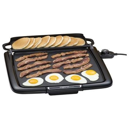 Black Griddle with Multi-Function Warming Tray, Cool-Touch Base, Premium Non-stick