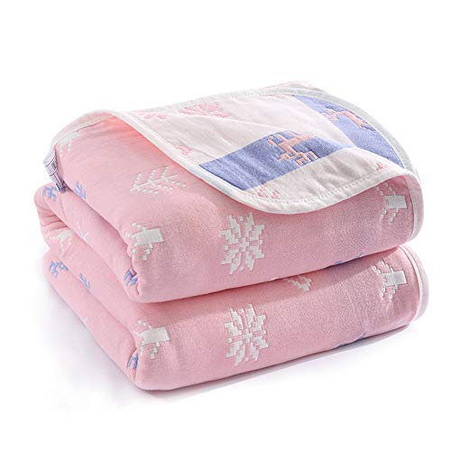 Joyreap 6 Layers of 100% Muslin Cotton Blanket for Adults - Cute Fresh Animal & Plant - Soft Breathable Lightweight Oversized Cotton Blanket for Spring/Summer (Snow Deer Pink,79