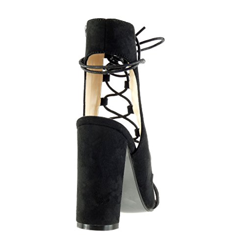 Angkorly - Scarpe da Moda sandali Stivaletti - Scarponcini aperto sexy donna merletto multi-briglia Tacco a blocco tacco alto 11.5 CM - Nero