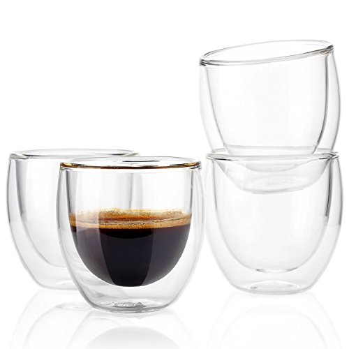Sweese 4301 Espresso Cups - 4 Ounce (Top to The Rim), Double-Wall Insulated Glasses - Handmade Glass - Set of 4