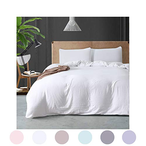 MOVE OVER White Bedding All White Duvet Cover Set Soft Washed Cotton Qulit Cover Plain White Kids Bedding Set Twin (66