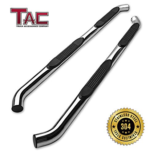 (TAC Side Steps Fit 2005-2019 Nissan Frontier King Cab / 2007-2012 Suzuki Equator Extended Cab Truck Pickup 3 inches T304 Stainless Steel Side Bars Nerf Bars Running Boards)