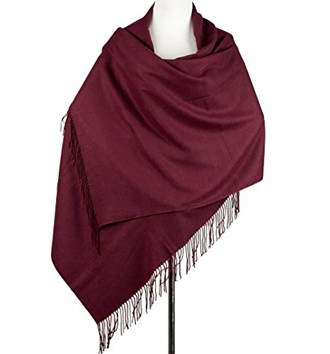 Cashmere Shawl Scarf/Poncho for Women, Light Wrap Stole and Throw Blanket Scarfs, Large Solid Soft Shrug with Fringe by ZEALIYUE (Image #3)