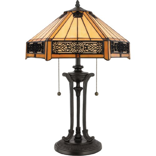 Quoizel TF6669VB Indus Tiffany Table Lamp - 2-Light - 120 Watts - Vintage Bronze (23