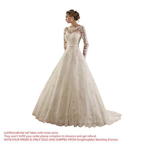 Sunweddingdress Women#039s Jewel Lace Applique Long Sleeve Chapel Wedding Dress