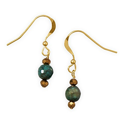 Green Fire Agate Bead Earrings with Gold Crystals 14k Gold-filled