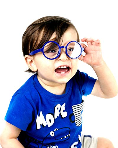 KD01 Baby Infants Toddlers (0~24 months old) Round Clear lens Glasses (Blue-clear Lens, UV400)]()