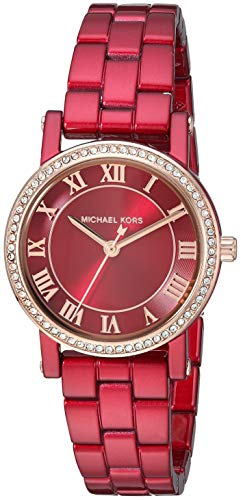 (Michael Kors Women's Norie Analog-Quartz Watch with Stainless-Steel-Plated Strap, red, 14 (Model: MK3896))
