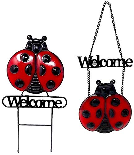 - DI Inc Ladybug Set Welcome Sign and Garden Stake Metal Door Wall Decoration Indoor Outdoor