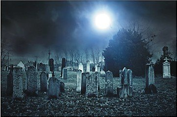 SCARY HAUNTED CEMETARY SCENE BACKDROP BANNER - PERFECT FOR YOUR HAUNTED (Scene Backdrops)
